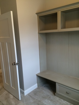 Laundry room with built in cubbies